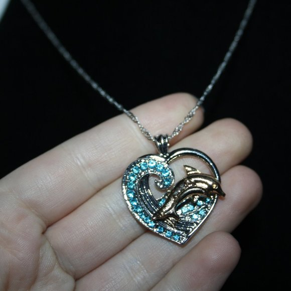 NEW silver gold and blue stone dolphin necklace